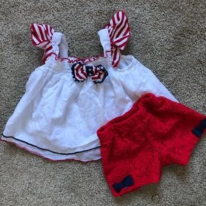 Flag Memorial Day 4th of July Swiss Dot Lace Set